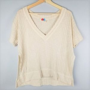 Free People FP Beach Beige V-Neck Loose Fit Tee S